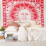 Red Sun Moon and Planet Fringed Cotton Tapestry Wall Hanging Bedspread