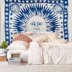 Large Fringed Patterned Sun Moon Cotton Tapestry