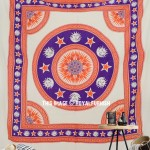 Orange Multi Sun Moon and Stars Mandala Wall Tapestry, Fringed Bedding