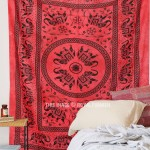 Red Fringed Tie Dye Elephant Medallion Circle Cotton Tapestry