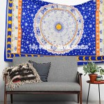 Blue Twin Size Zodiac Horoscope Cotton Tapestry Wall Hanging