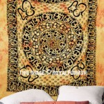 Large Yellow Tie Dye Hindu OM Chakra Fringed Tapestry, Tie Dye Bedding