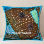 "16"" Antique Blue Sequin Beads Patchwork Embroidered Throw Pillow Sham"