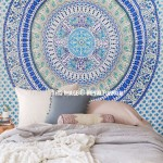 White & Blue Indian Mandala Hippie Beach Throw Indian Tapestry Bedspread