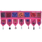 "38"" Pink India Patchwork Toran Window Door Hanging Valance Topper Decor Art"