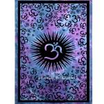 Purple Hindu Tie Dye Om Aum Chakra Wall Tapestry