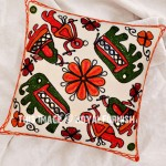"""16"""" White Needlepoint Elephant Woolen Embroidered Indian Pillow Cover"""