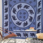 Blue Indian Elephant Medallion Mandala Boho Wall Tapestry Bedspread Bedding