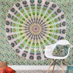 Blend of Yellow & White Peafowl Mandala Tapestry Throw Wall Hanging Bedspread