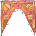 Multicolor Mirror Embroidered Toran Window Door Topper Valance Decor Art