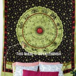 Green Hindu Astrology Horoscope Zodiac Bohemian Hippie Tapestry Wall Hanging