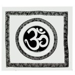 Big White & Black Celestial OM Wall Tapestry, Aum Cotton Fringed Tapestry Bedding