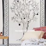 White & Black Apple Tree of Life Wall Tapestry