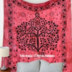 Maroon Elephant With Tree Wall Tapestry, Queen Cotton Fringed Bedding