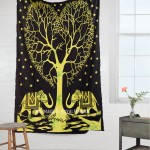Black & Green Elephant Love Tree Wall Tapestry, Indian Tie Dye Sheet