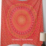 Vibrant Red Boho Leafs and Elephants Mandala Circle Wall Tapestry, Indian Bedding