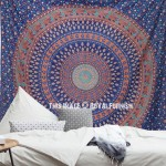 Vibrant Blue Leafs Printed Mandala Circle Wall Tapestry, Cotton Bedding Throw
