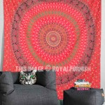 Red Boho Elephant Mandala Wall Tapestry, Hippie Indian Throw Bedding