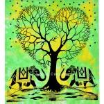Green Cool Tie Dye Elephant Love Tree Wall Tapestry, Tie Dye Bedding Sheet