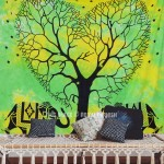 Green Cool Tie Dye Elephant Love Tree Wall Tapestry, Tie Dye Bedding Sheet