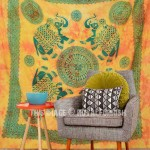 Yellow Large Four Elephant Mandala Wall Tapestry, Tie Dye Fringed Bedding