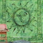 Green Sparkling Sun Moon Fringed Wall Tapestry, Hippie Fringed Bedding