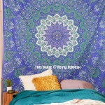 Blue Psychedelic 3-D Star Mandala Wall Tapestry, Indian Bedding Throw
