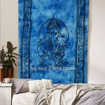 Blue Small Tie Dye Hindu Ganesha Fringed Wall Tapestry