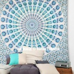 White Multi Mandala Throw Wall Tapestry, Psychedelic Bohemian Bedding