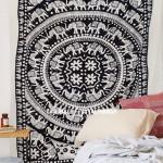 Black and White Fringed Elephant Mandala Tapestry Indian Bohemian Bedding
