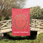 Twin Size Red Boho Mandala Circle Wall Tapestry Throw Bedding Sheet
