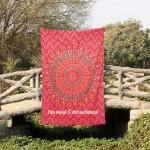 Twin Size Red Boho Mandala Circle Wall Tapestry Throw Bedding Sheet