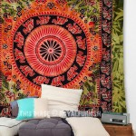Large Green Elephant Mandala Wall Tapestry
