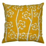 Yellow Handcraft Birch Tree Design Applique Throw Pillow Cover