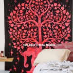 Small Red Black Elephant & Tree of Life Tapestry Throw Wall Hanging