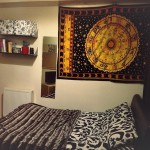 Twin Yellow Zodiac Meditation Yoga Tapestry Bedspread