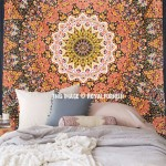 Large Black Multicolor Psychedelic Star Mandala Wall Tapestry Indian Bedspread