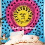 Blue and Yellow Psychedelic Sun Moon Tapestry Tie Dye Hippie Wall Hanging Bedspread