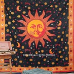 Psychedelic Celestial Black Sun Moon Tapestry Wall Hanging