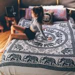 Large Black and White Elephant Mandala Tapestry Bedding Bedspread