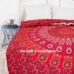 Vibrant Red Reversible Peafowl Mandala Duvet Cover