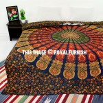 Green Boho Patterned Peafowl Mandala Duvet Cover