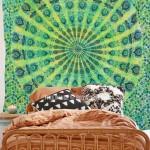 Green Multi Tie Dye Mandala Throw, Hippie Mandala Tapestry