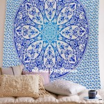 Blue Ombre Medallion Mandala Tapestry Bedding Throw