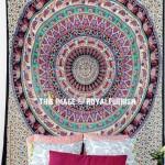 Beige Elephants Deer & Floral Rings Bohemian Mandala Wall Tapestry