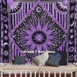 Purple Celestial Sun Moon Stars Wall Tapestry, Bohemian Bedspread