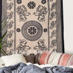 Black Four Elephant Ring Medallion Tapestry