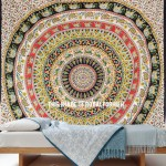 Beige Multi Floral Elephants Bohemian Medallion Mandala Tapestry Wall Hanging