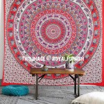 Red & Pink Multi Bohemian Elephants Medallion Mandala Wall Tapestry