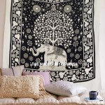 White and Black Elephant Tree Border Wall Tapestry, Fringed Bedding